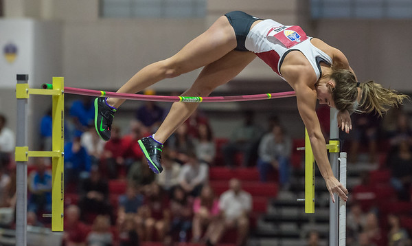 "Lexi Weeks easily clears 14' 5"" in the pole vault during the SEC Indoor Track Championships on 2-27-16.   (Alan Jamison, Nate Allen Sports Service)"
