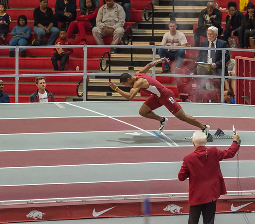 Kenzo Cotton leaves the blocks on his way to fourth place in the 200 meter dash during the SEC Indoor Track Championships on 2-27-16.   (Alan Jamison, Nate Allen Sports Service)