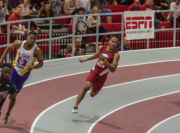 Kenzo Cotton on his way to fourth place in the 200 meter dash during the SEC Indoor Track Championships on 2-27-16.   (Alan Jamison, Nate Allen Sports Service)
