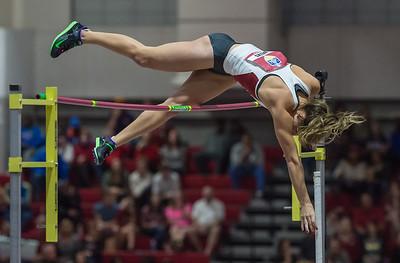 """Lexi Weeks wins the pole vault with a height of 14' 8.25"""" during the SEC Indoor Track Championships on 2-27-16.   (Alan Jamison, Nate Allen Sports Service)"""
