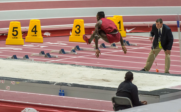 Clive Pullen leaps 54 ft 3.75 in to win the triple jump during the SEC Indoor Track Championships on 2-27-16.   (Alan Jamison, Nate Allen Sports Service)