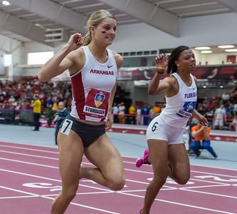 Payton Stumbaugh takes third in the 60 meter hurdles during the SEC Indoor Track Championships on 2-27-16.   (Alan Jamison, Nate Allen Sports Service)