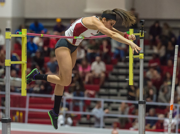 """Megan Zimlich vaults 13' 10"""" to take fourth place during the SEC Indoor Track Championships on 2-27-16.   (Alan Jamison, Nate Allen Sports Service)"""