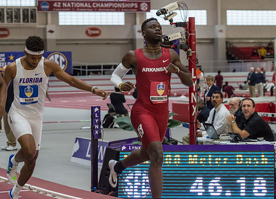 Marquez Washington takes fourth place in the 400 meter dash during the SEC Indoor Track Championships on 2-27-16.   (Alan Jamison, Nate Allen Sports Service)