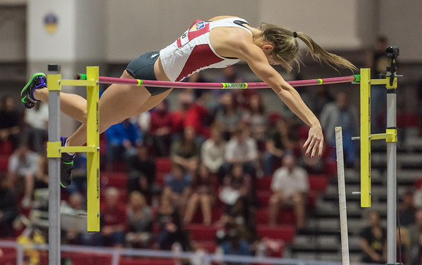 Tori Weeks clears 14 ft 2 in to take third place in the pole vault during the SEC Indoor Track Championships on 2-27-16.   (Alan Jamison, Nate Allen Sports Service)