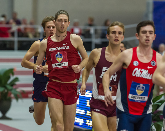 Cameron Griffith took seventh place in the mile run during the SEC Indoor Track Championships on 2-27-16.   (Alan Jamison, Nate Allen Sports Service)