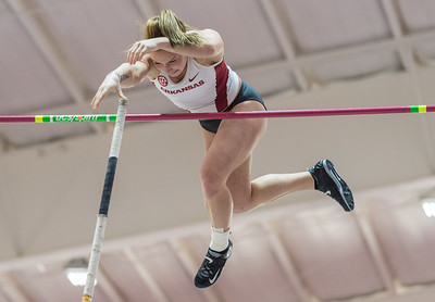Desiree Freier vaults during the Tyson Invitational Track and Field meet on Saturday, February 11, 2017.   (Alan Jamison, Nate Allen Sports Service)