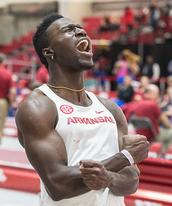 Clive Pullen celebrates his victory in the Triple Jump during the Tyson Invitational Track and Field meet on Saturday, February 11, 2017.   (Alan Jamison, Nate Allen Sports Service)