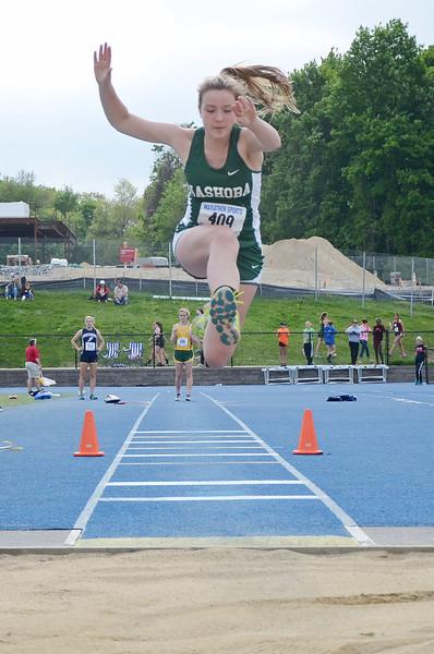 Nashoba's Natalie Lindsay competes in Saturday's district track meet at Lunenburg. SENTINEL & ENTERPRISE / Ashley Green