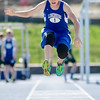 Lunenburg's Brandon Antinori competes in the long jump during the meet at Lunenburg High on Wednesday afternoon. SENTINEL & ENTERPRISE / Ashley Green