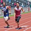 Fitchburg's Greg Santiago runs the 100 m in the Mid-Wach A championship meet at Crocker Field on Saturday morning. SENTINEL & ENTERPRISE / Ashley Green