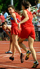 Runners from Daniel Boone High School exchange the baton after completing the first leg in the Girls 4x800-meter relay at Friday's TSSAA Class AAA Section 1 Track and Field Finals at Dobyns-Bennett. Photo by Kris Wilson - kswilson@timesnews.net.