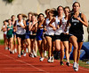 Heritage's Lauren Barnes leads the rest of the field down the backstretch in the first lap of the Girls 1600-meter run during Friday's TSSAA Class AAA Section 1 Track and Field Finals at Dobyns-Bennett. Photo by Kris Wilson - kswilson@timesnews.net.