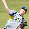 Record-Eagle/Brett A. Sommers<br /> <br /> Buckley's Jackson Ledford releases a pitch during the opening baseball game of Monday's  doubleheader against Traverse City Christian.
