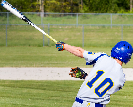 Record-Eagle/Brett A. Sommers  Buckley's Dawson Warren swings at a pitch during the opening baseball game of Monday's  doubleheader against TC Christian.
