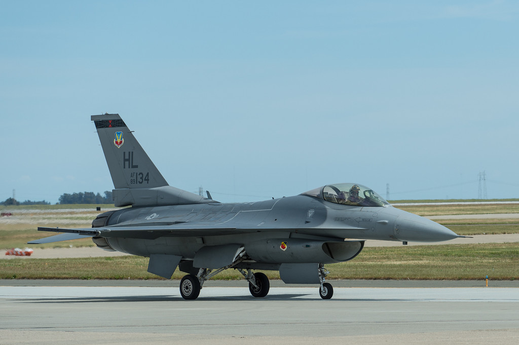 F16 getting ready to do a ceremonial flight alongside the Mustang.