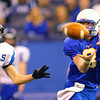 11-29-13  --  Tri-Central Football State Champions. Jade Powell on a 3rd quarter catch for a large gain.<br />   KT photo | Tim Bath