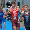 James Teagle from Great Britain and Max Studer from Switzerland at the 2016 Holten ETU Sprint Triathlon Premium European Cup, held in Holten the Netherlands on Saturday July the 2nd 2016.