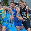 Yegor Martynenko from the Ukraine, Valentin Wernz from Germany, and Jérémy Quindos from France at the 2016 Holten ETU Sprint Triathlon Premium European Cup, held in Holten the Netherlands on Saturday July the 2nd 2016.
