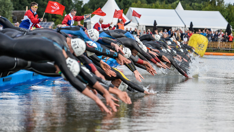Mens Elite ETU Triathlon Starts with the Swim in Holten the Netherlands on 2nd July 2016.