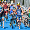 (Right to Left) SimonDe Cuyper (BEL) Delian Stateff (ITA) LukeWillian (AUS) in the bike to run transition area at the 2016 Holten ETU Sprint Triathlon Premium European Cup, held in Holten the Netherlands on Saturday July the 2nd 2016.