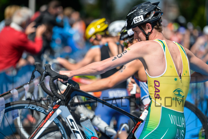 LukeWillian from Australia in the bike to run transition area at the 2016 Holten ETU Sprint Triathlon Premium European Cup, held in Holten the Netherlands on Saturday July the 2nd 2016.