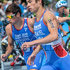 Team mates Nathan Grayel (R) Léo Bergere from France in the bike to run transition area at the 2016 Holten ETU Sprint Triathlon Premium European Cup, held in Holten the Netherlands on Saturday July the 2nd 2016.