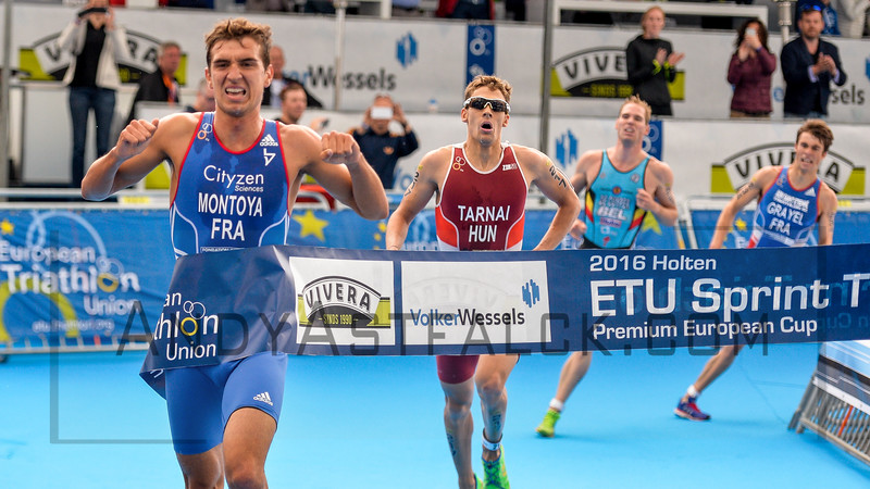 Raphael Montoya from France wins, with Laszlo Tarnai from Hungry 2nd, Simon De Cuypers from Belgium 3rd, and Nathan Grayel from France in 4th place at the 2016 Holten ETU Sprint Triathlon Premium European Cup, held in Holten the Netherlands on Saturday July the 2nd 2016.