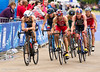 Jonny Brownlee (GBR) right,  tries to make up lost ground
