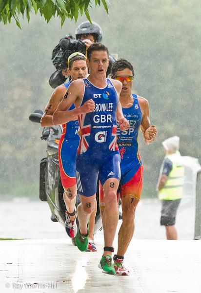 Bronze Medallist Jonathan Brownlee leads Javier Gomez (ESP)