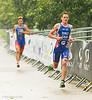 Bronze Medal winner Jonathan Brownlee (GBR) goes ahead of Javier Gomez (ESP)
