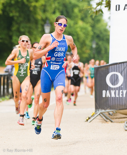 Gold Medal winner Helen Jenkins (GBR) takes the lead in the second lap