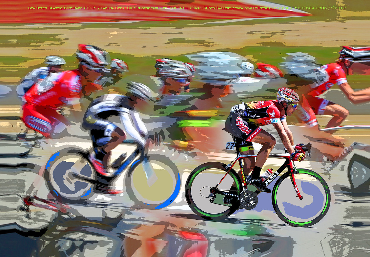 The peleton speeds along during the Sea Otter Classic cycling race.