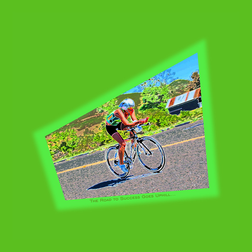 The Road to Success Goes Uphill and is never easy: An artistic rendering of a racer cruising along during the cycling stage of the Wildflower Triathlon.
