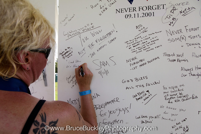 Racers left messages on the remembrance wall for Sept. 11 victims.