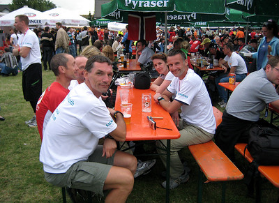 After race party Quelle Challenge Roth 2009.