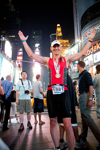 After his race we went to Times Square so Tim could have his picture taken.  While there he was asked by other people if he was an Olympic athlete and was congratulated on being an Ironman.