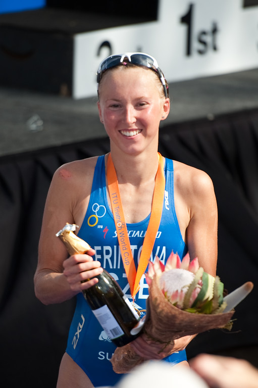 "Race winner Vendula Frintova (CZE) - 2010 Mooloolaba Women's ITU World Cup Triathlon, 28 March 2010. Photos by Des Thureson: <a href=""http://disci.smugmug.com"">http://disci.smugmug.com</a>."