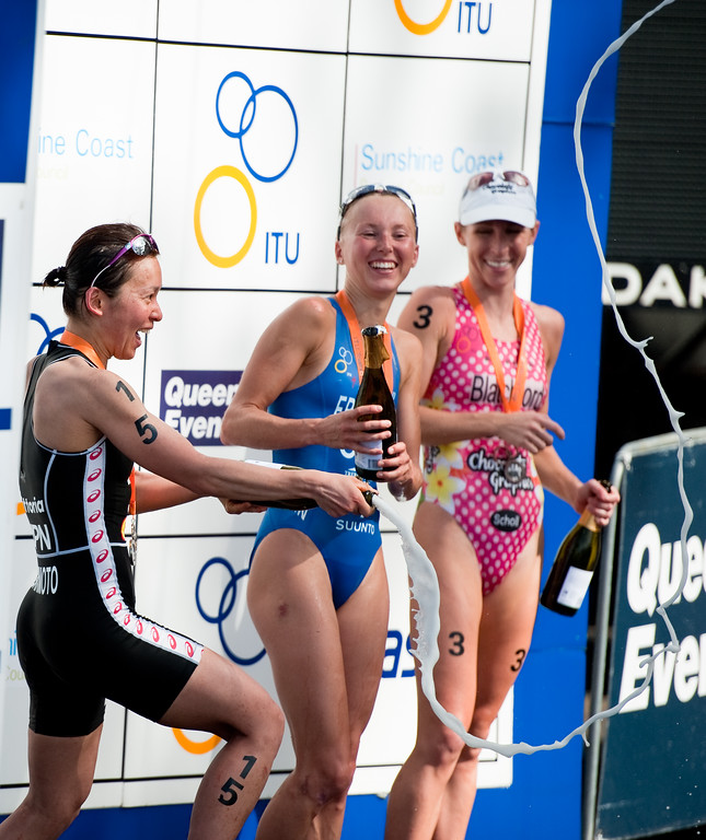 Medal Presentation Ceremony & Champaign popping - Mooloolaba Women's ITU World Cup, 28 March 2010.