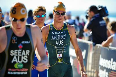 Brad Kahlefeldt (pre-race), who finished strongly to win the event - Mooloolaba Men's ITU World Cup Triathlon, 27 March 2010.