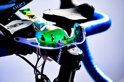 "Alternate Processing - ""Matt's Wedding Fantasy"" - Brad Kahlefeldt's sunglasses & bike await his return from the Coral Sea - Mooloolaba Men's ITU World Cup Triathlon, 27 March 2010."