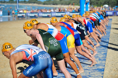 """They're Off!"" - Courtney Atkinson, James Seear & David Hauss closest to camera - Mooloolaba Men's ITU World Cup Triathlon, 27 March 2010"