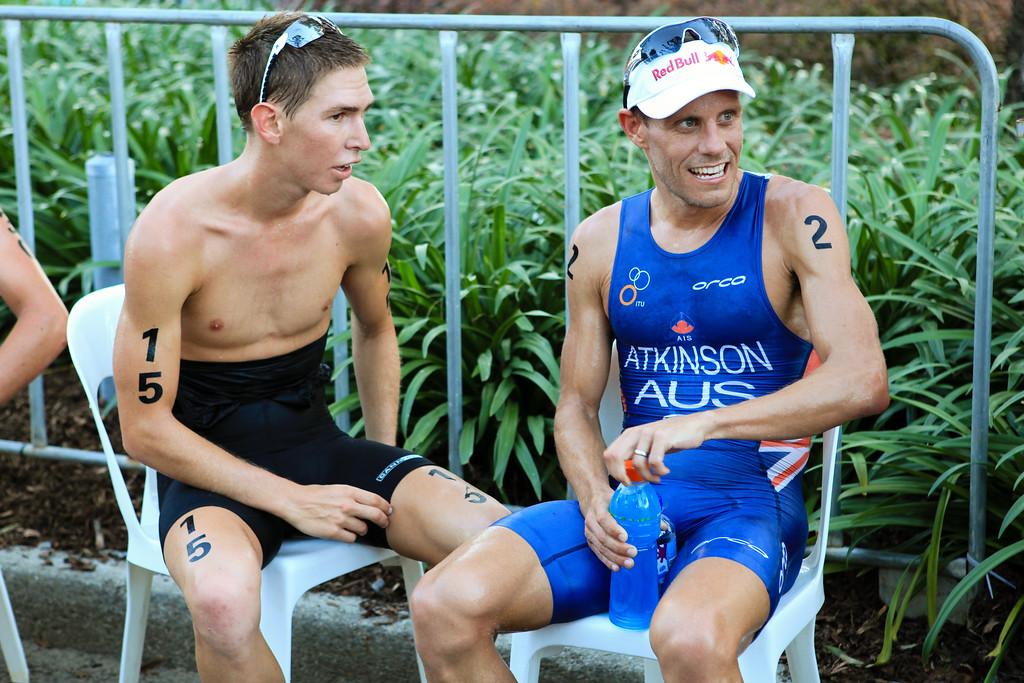 Relief, Rest - Courtney Atkinson, Josh McHugh - Mooloolaba Men's ITU World Cup Triathlon, 27 March 2010