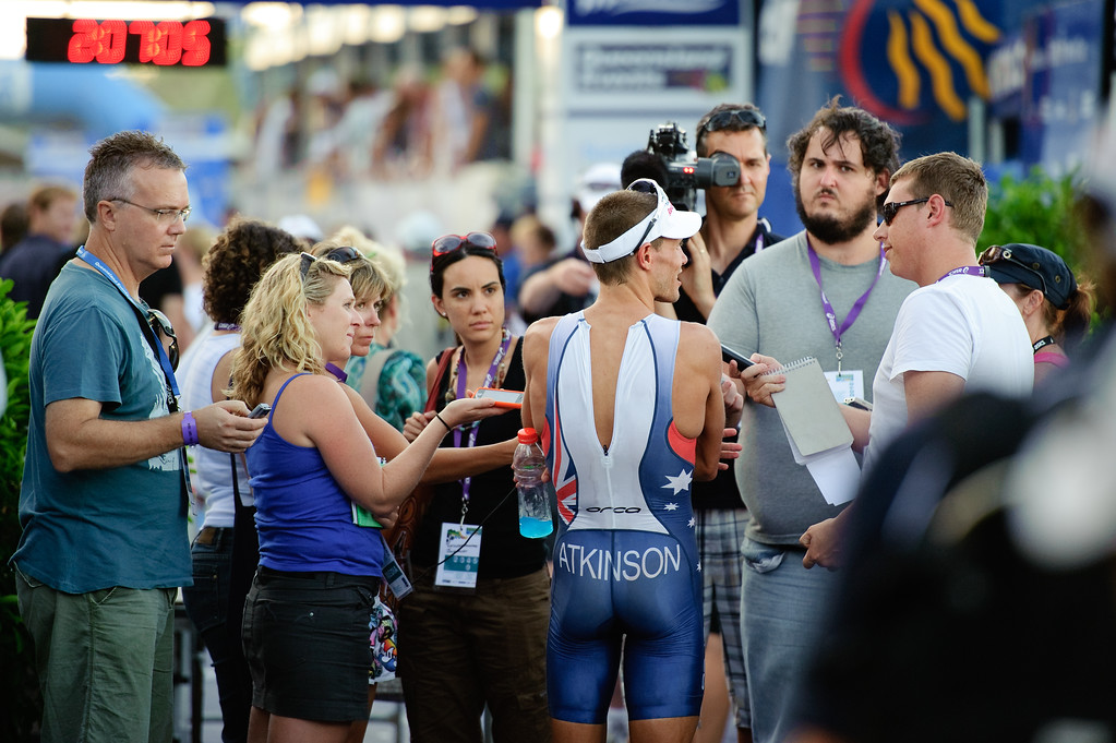 Courtney Atkinson speaks with the Media - Mooloolaba Men's ITU World Cup Triathlon, 27 March 2010