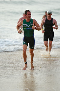 Completing the 1500 metre Olympic triathlon distance swim - Mooloolaba Triathlon, 28 March 2010