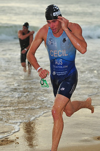 Taylor Cecil exits the Pacific Ocean - Mooloolaba Triathlon, 28 March 2010