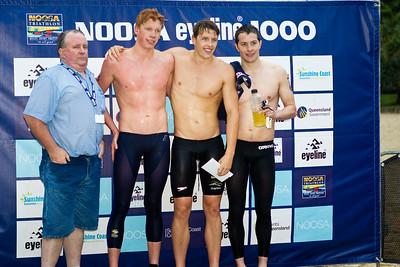 George O'Brien, Sam Sheppard, Codie Grimsey - 2011 Noosa Ocean Swim, Main Beach, Noosa Heads, Sunshine Coast, Queensland, Australia.