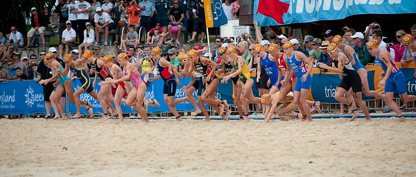"""GO!"" - 2011 Mooloolaba ITU World Cup Triathlon - Women. Mooloolaba Triathlon Festival, Sunday 27 March 2011, Sunshine Coast, Queensland, Australia. Photos by Des Thureson:  http://disci.smugmug.com."