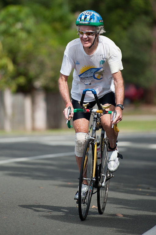 """Markos Hanley, 78 of Noosaville competing in his 17th Mooloolaba triathlon - Mooloolaba Triathlon, at the Mooloolaba Triathlon Festival, Sunday 27 March 2011, Sunshine Coast, Queensland, Australia. Photos by Des Thureson. Courier Mail article:  <a href=""""http://smu.gs/eVgGHz"""">http://smu.gs/eVgGHz</a>."""