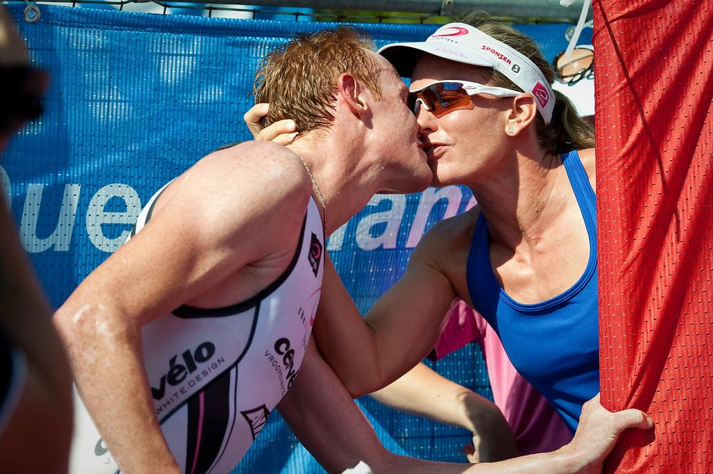 Winner David Dellow with 2010 Women's Winner Caroline Steffen - 2011 Noosa Triathlon, Noosa Heads, Sunshine Coast, Queensland, Australia; 30 October 2011.